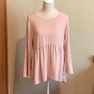 CHARLIE PAIGE Nude empire waist bell sleeve blouse